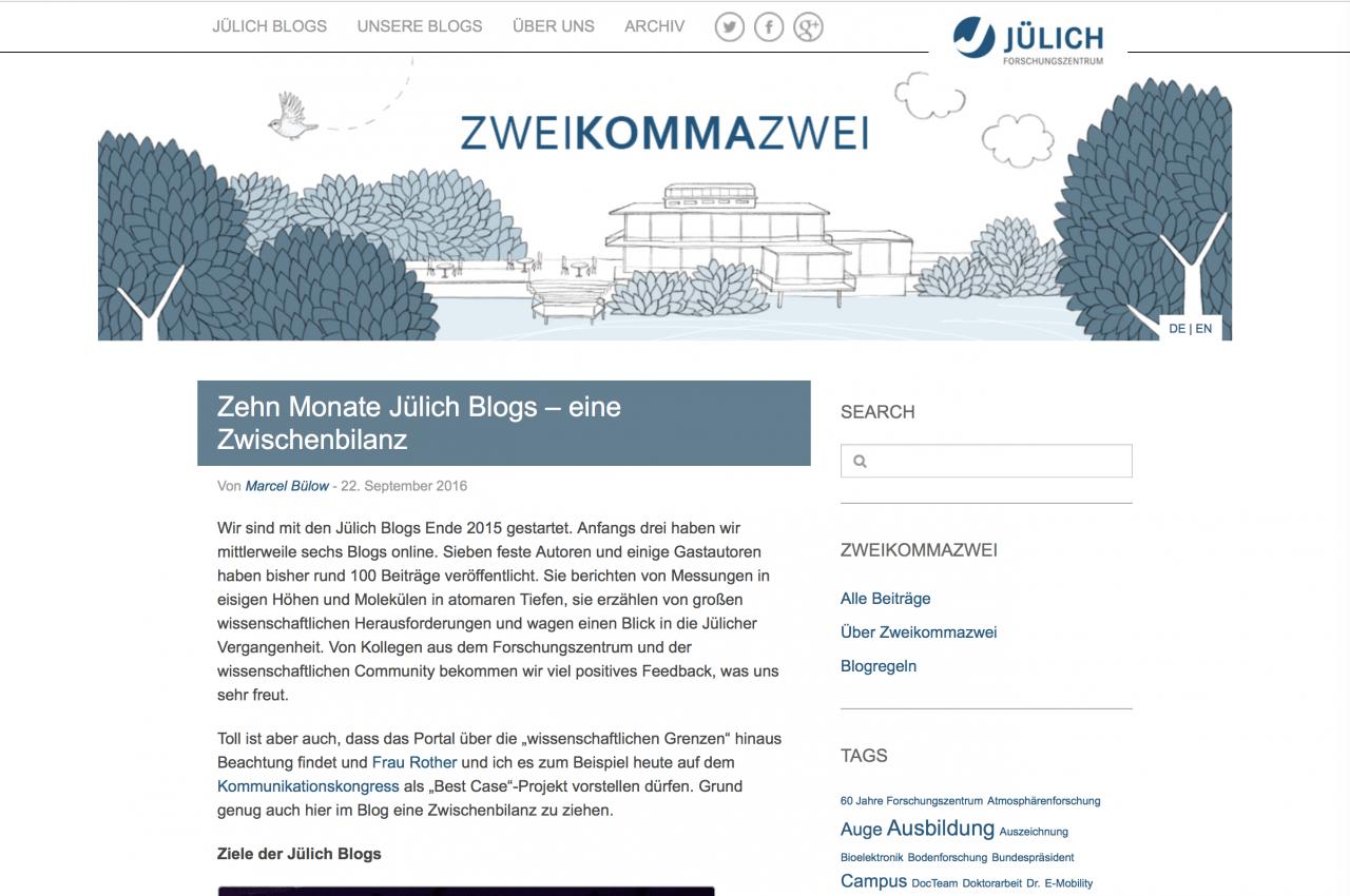 Ein voller Erfolg - Status quo der Jülich Weblogs nach zehn Monaten